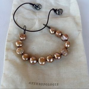 Anthropologie Pearl and Silver Leather Bracelet